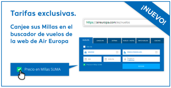 Nuevo buscador vuelos Air Europa con millas Suma.