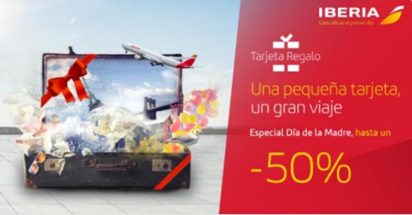 Recibe hasta 250 EUR de descuento en tarjetas regalo Iberia.