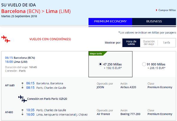 Barcelona - Lima en Turitsa Premium.