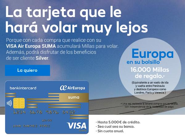 Air Europa Suma actualiza producto VISA: 16.000 millas bienvenida + nivel Silver
