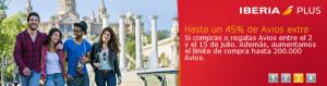 45% bonus comprando Avios Iberia Plus, 350 Avios con elTenedor