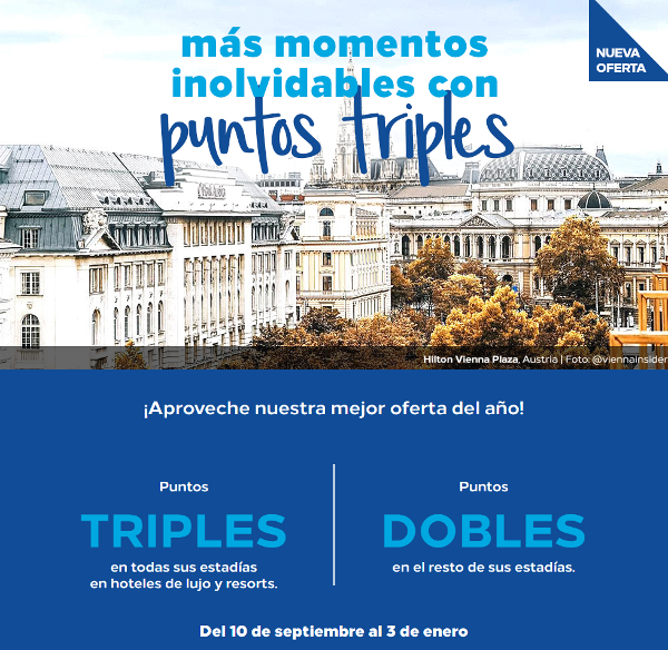 Promo Hilton Honors otoño-invierno: DOBLE o TRIPLE puntos Honors en tus estancias.