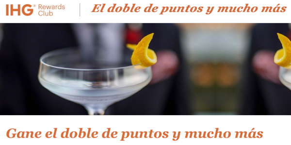 Promo IHG Rewards otoño: Doble de Puntos + Avance.