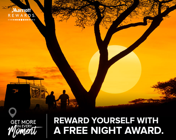 MarriottRewards: 2 estancias pagadas, una noche gratis.