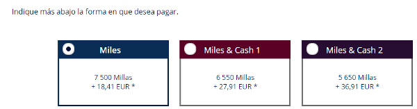 Ejemplo canje millas Flying Blue entre Barcelona y Ámsterdam.
