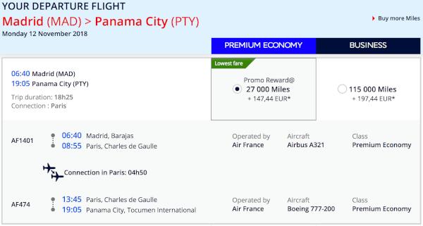 Ciudad de Panamá, 27.000 millas por sentido.
