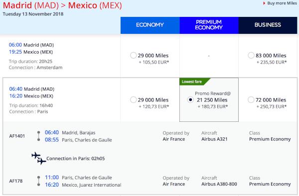 21.250 millas por sentido para Madrid/Barcelona - Ciudad de México.