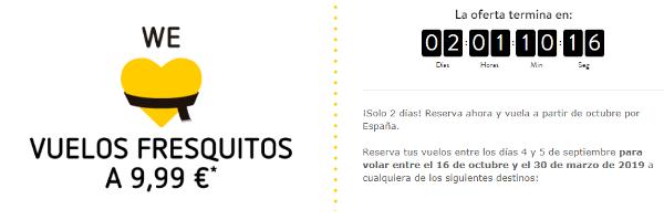 Vuelos domésticos de Vueling por 9.99 Euros.