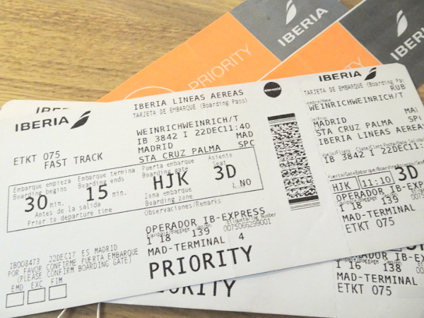 Iberia Express Business MAD-SPC: tarjetas de embarque.