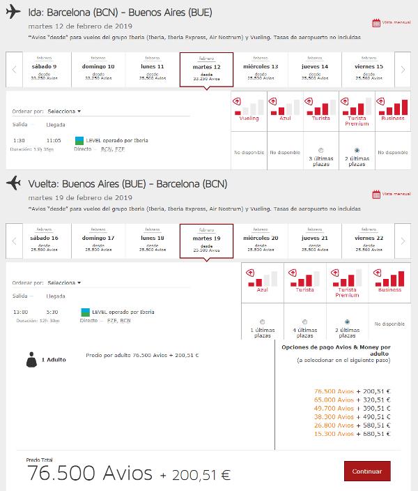 Reserva con Avios en LEVEL a través de Iberia Plus.