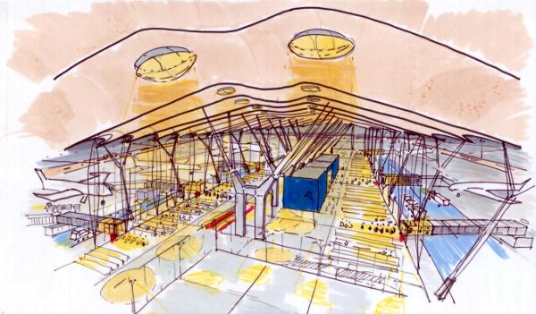 Croquis terminal 4 de Madrid.