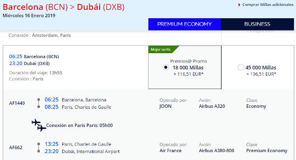 Premios Promos Flying Blue octubre 2018. Dubái en Premium Economy por 18.000 millas.