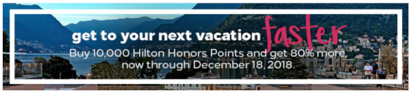 Compra puntos Hilton Honors con un 80-100% adicional.