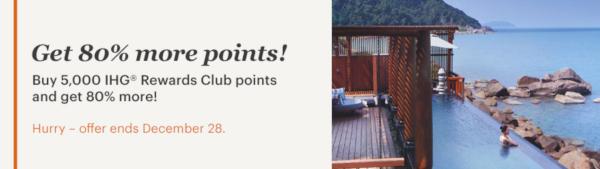 Compra puntos IHG Rewards Club con un 80% extra.