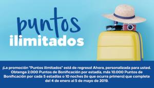 Puntos ilimitados, nueva promo invierno-primavera Hilton Honors. Mínimo 2.000 puntos por estancia
