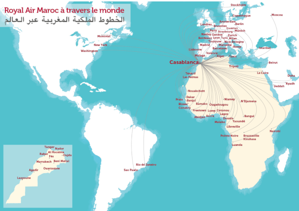 Royal Air Maroc oneworld, mapa de destinos.