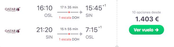 Oslo a Singapur en Business, 1.403 Eur.