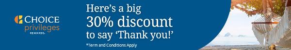 Compra puntos Choice Privileges con un descuento del 30%.