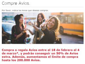 Compra Avios de Iberia Plus con un 50% adicional, 9 mil millones de Avios