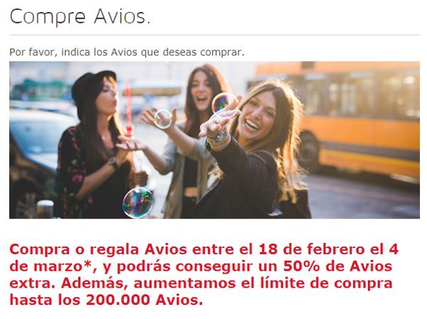 Compra Avios con un 50% extra en Iberia Plus.