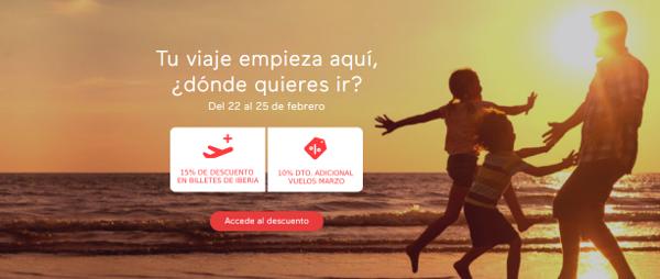 Iberia Cards descuento 15% (+10%) febrero 2019.