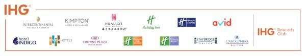 Marcas participantes en IHG Rewards Club.
