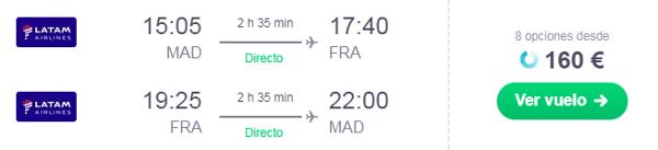 LATAM Madrid - Frunkfurt por 160 eur ida y vuelta.