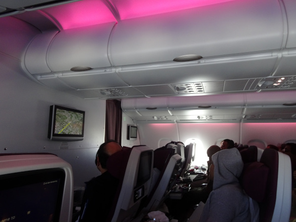 Cabina turista en la planta superior del A380.
