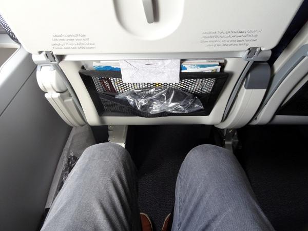 Distancia entre filas generosa. Qatar Airways A380.