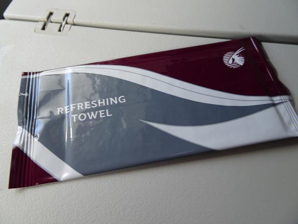 Qatar Airways A380 Toallita refrescante.