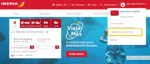 Cómo reservar un vuelo con Avios en Iberia Plus #4.