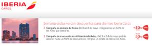Nueva promo Iberia Cards: 50% extra compra Avios, 25–50% descuento en Avios