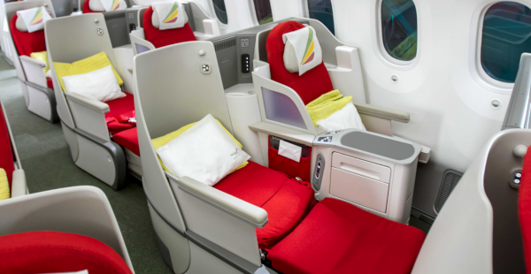Clase Business 787 de Ethiopian Airlines.