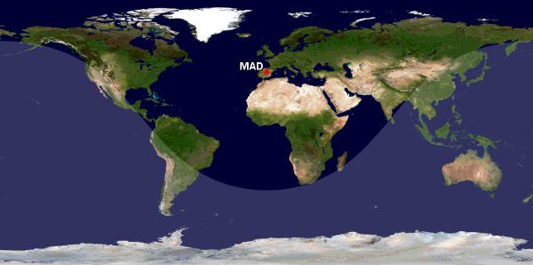 Alcance del A321 XLR de Iberia desde Madrid.
