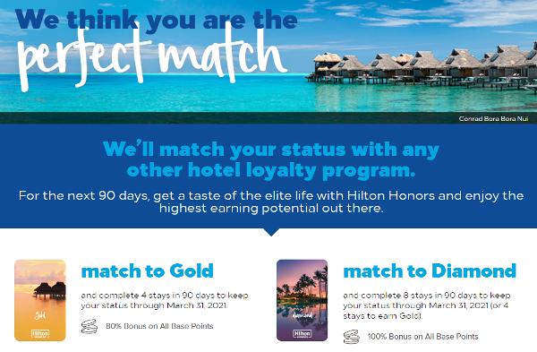 Status-match: Hilton Honors iguala tu nivel de tarjeta de otra cadena hotelera.