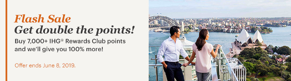 Compra puntos IHG Rewards Club con un 100% extra hasta el 8 de junio.
