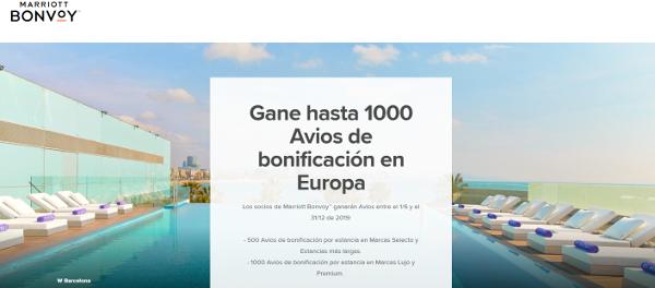 Obtén hasta 1.000 Avios por cada estancia en hoteles Marriott en Europa.