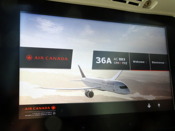 Sistema de entretenimiento, Air Canada 787.