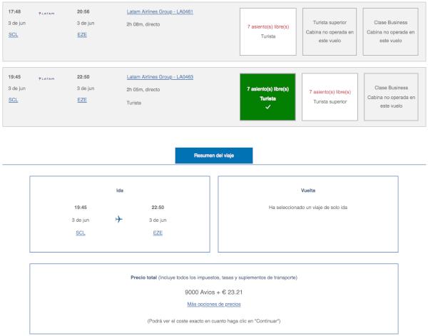 Cómo reservar vuelos de LATAM con Avios: Buenos Aires desde Santiago de Chile.