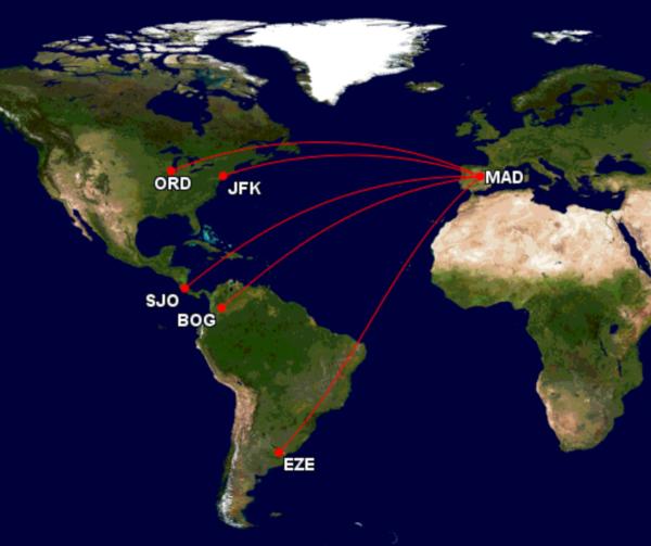 Rutas operadas por el A350 de Iberia.