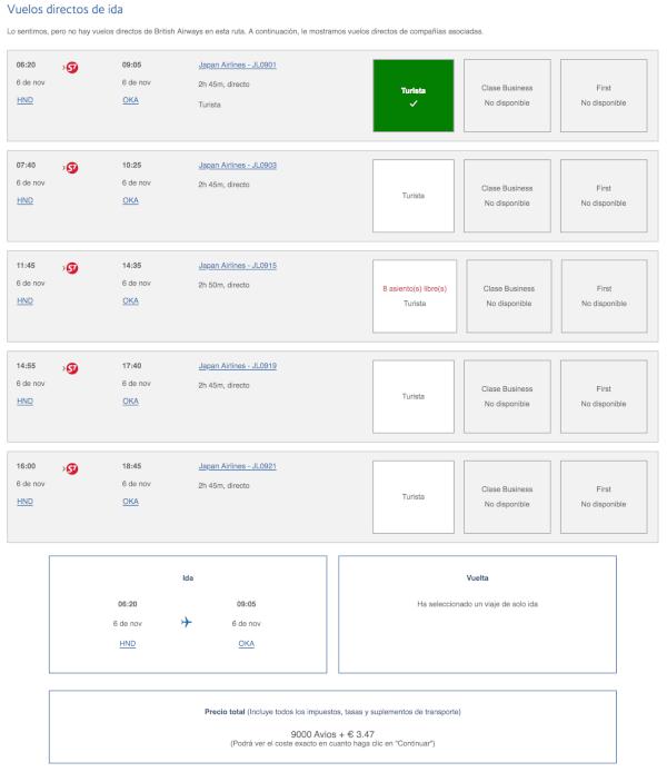 Utilizando puntos Avios para vuelos domésticos en Japón con Japan Airlines.