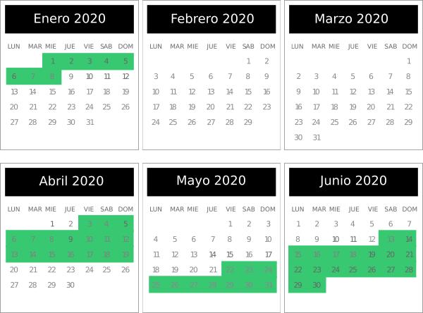 Calendario de temporada Baja y Alta 2020 de Aer Lingus.