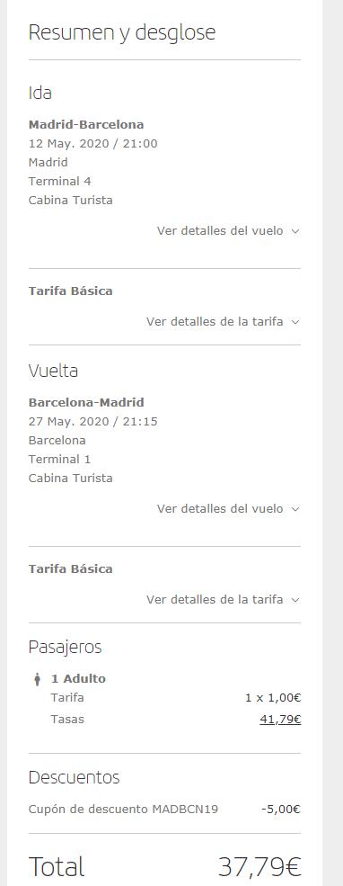 MAD-BCN, 19€ el trayecto.