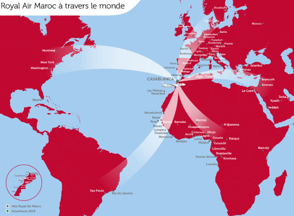 Rutas y destinos de Royal Air Maroc.