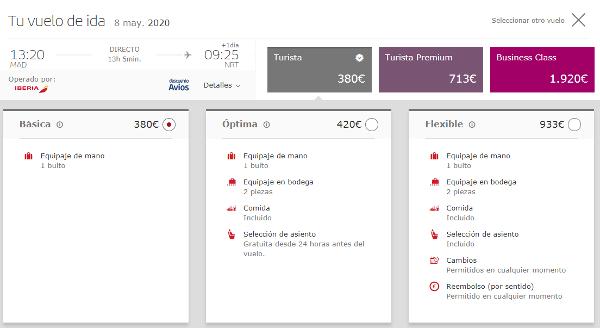 Iberia introduce tarifa Básica sin equipaje en bodega a Japón.