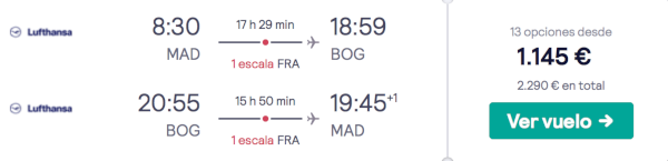 Lufthansa Business a Bogotá desde 1.145€.