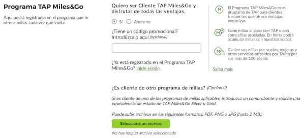 ¿Cómo solicitar el status match a TAP Miles & Go?