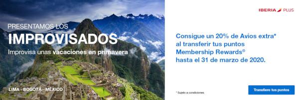 Transfiere Puntos MR de American Express a Avios de Iberia Plus con un 20% extra.