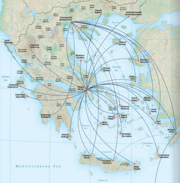 Mapa de rutas de Aegean en Grecia.