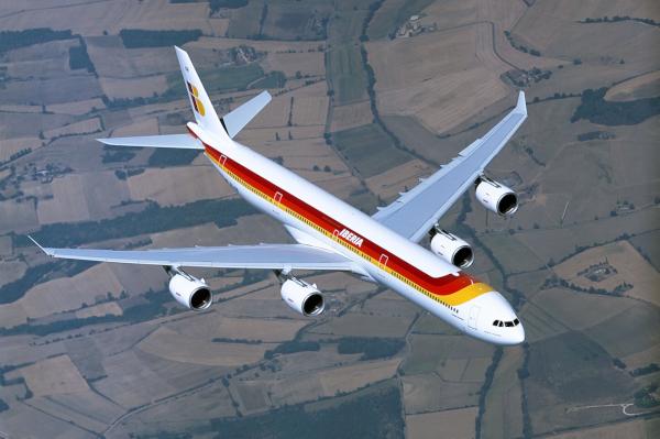 El Airbus 340-600 con la antigua librea de Iberia.